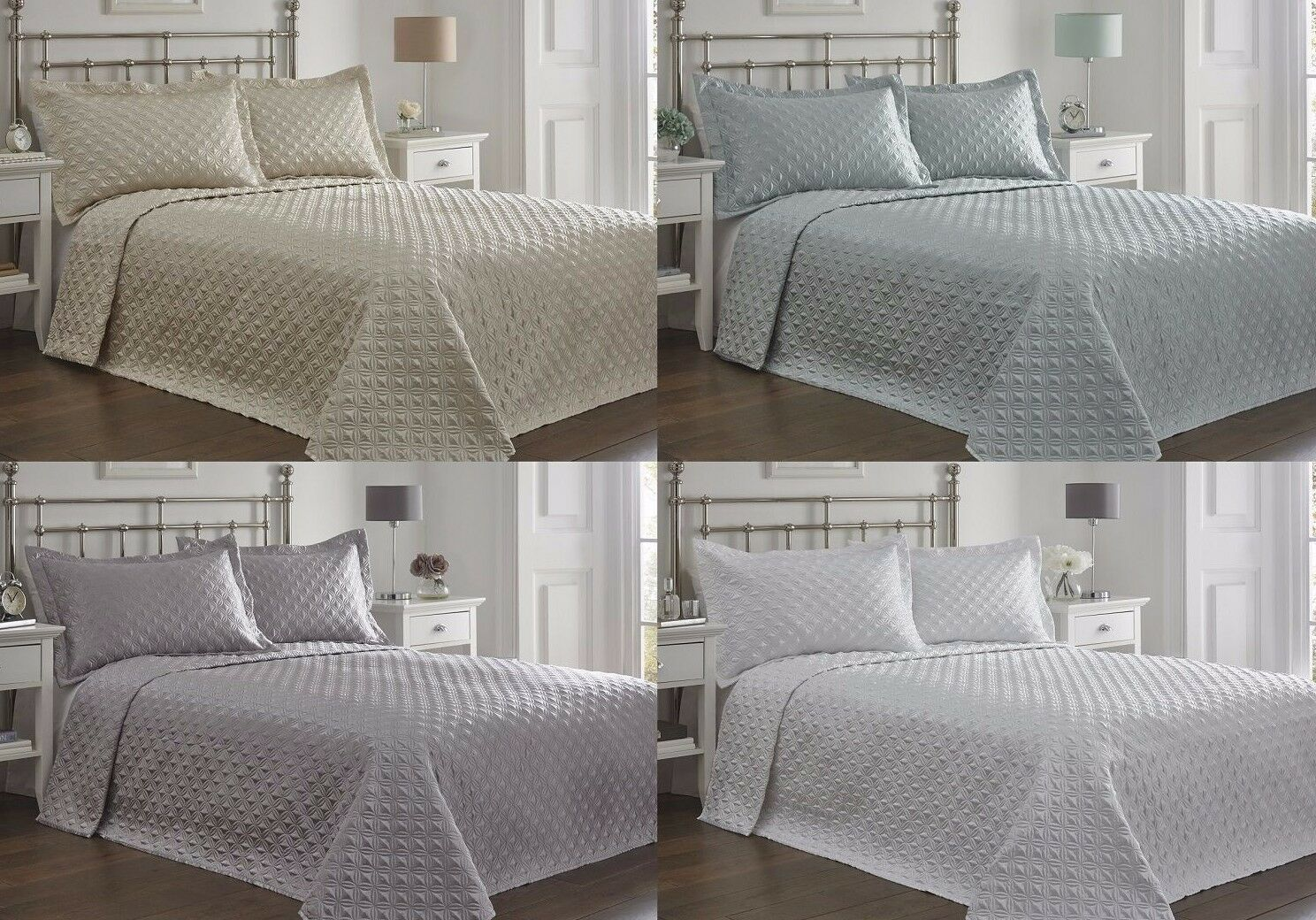 REGENT QUILTED BEDSPREAD & PILLOW SHAM SET,THROW OVER,GREAT VALUE FOR MONEY