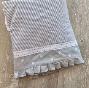 Pottery Barn Kids Crib Skirt Pbk Taylor Dot Stripe Baby Dust Ruffle Gray Bedding Ebay