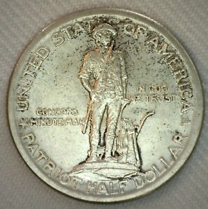 1925-Silver-Lexington-Concord-Half-Dollar-Commemorative-Coin-50c-UNC-B
