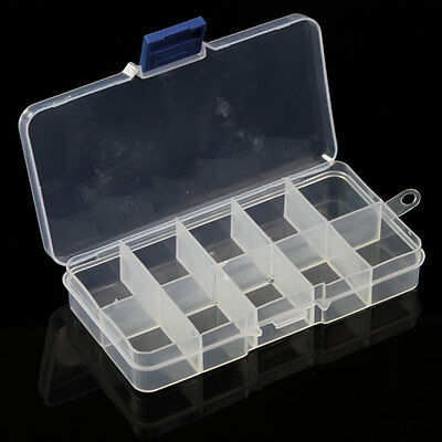 New Plastic Portable Case Storage Box Container Jewellery Boxes 10 Compartments