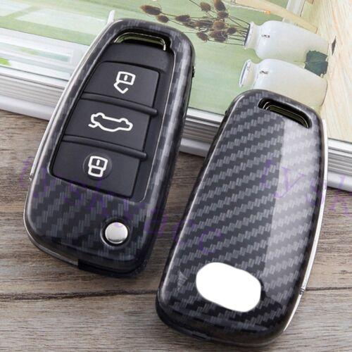 Carbon Fiber Key Shell Case Holder Bag Cover Protect For Audi A1 A3 A6 S3 Q3 Q7