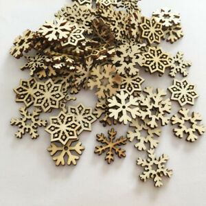 50X-Christmas-Snowflake-Wooden-Hanging-Ornaments-Embellishment-Cardmaking-Craft