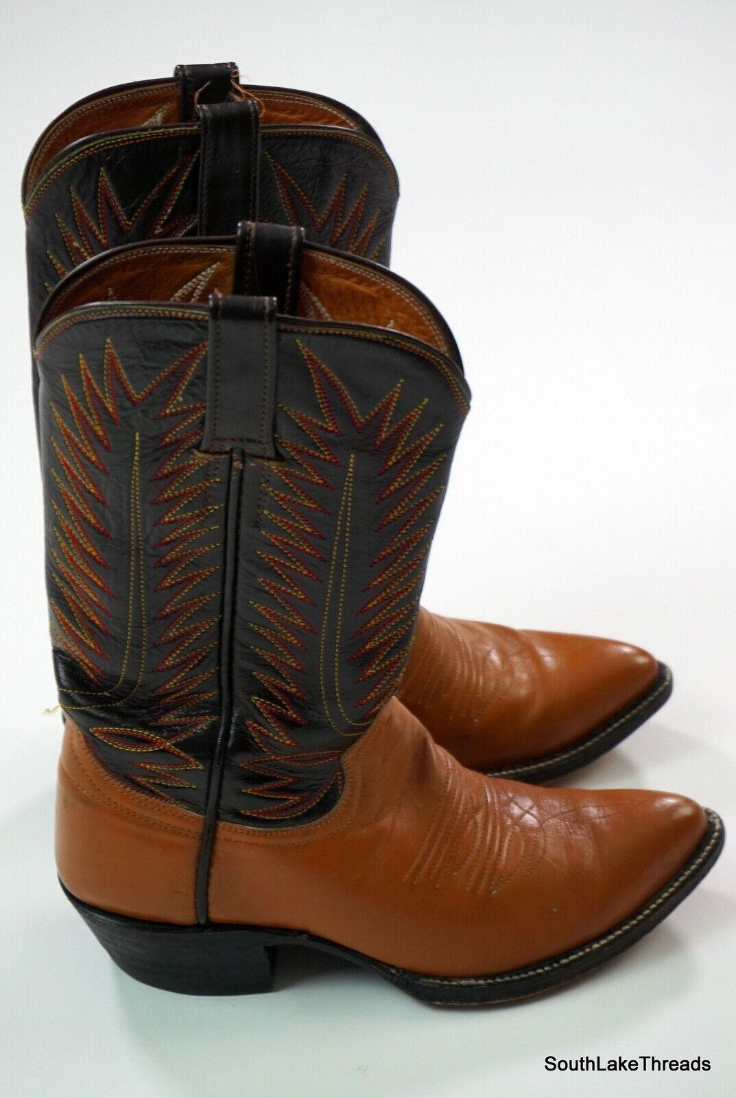 O 'Sullivan botas Vaqueras De Cuero Vintage Marrón y Tostado Para Hombres  2