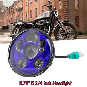 5-75-034-Universal-Blau-LED-Projektion-DOT-Scheinwerfer-DRL-Hi-Lo-Beam-fuer-Harley