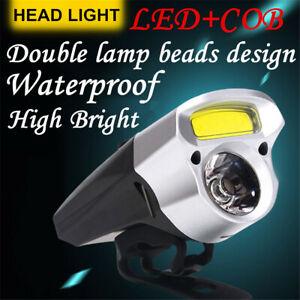 LED+COB 18650 USB Recharge Cycling  Bike Light Double Lamp Head Light Bicycle