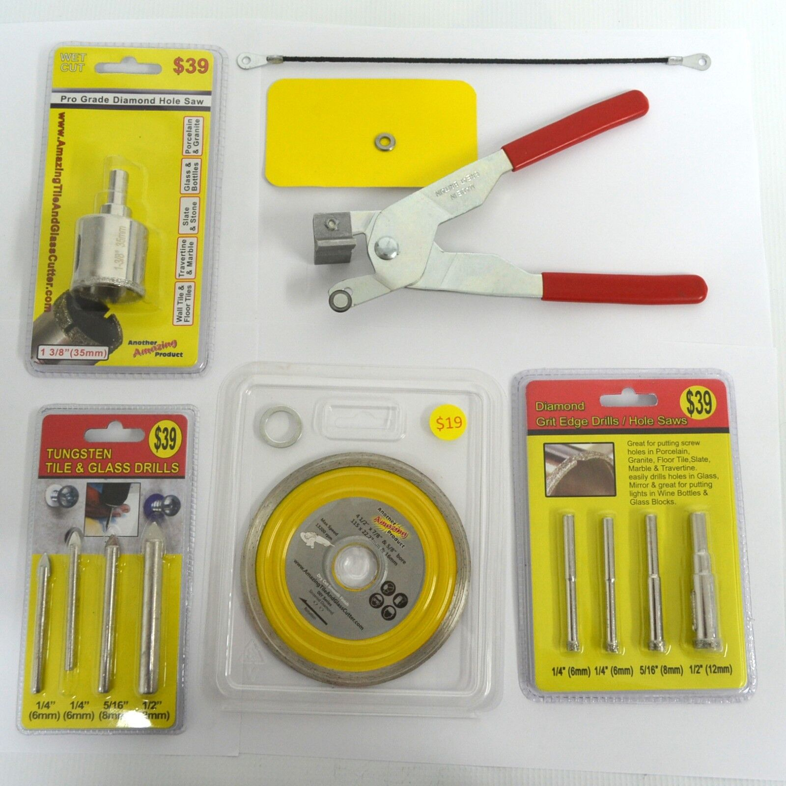 The Amazing Tile & Glass Cutter 13 pc Kit inc Drill bits Diamond 1 3 8  Holesaw