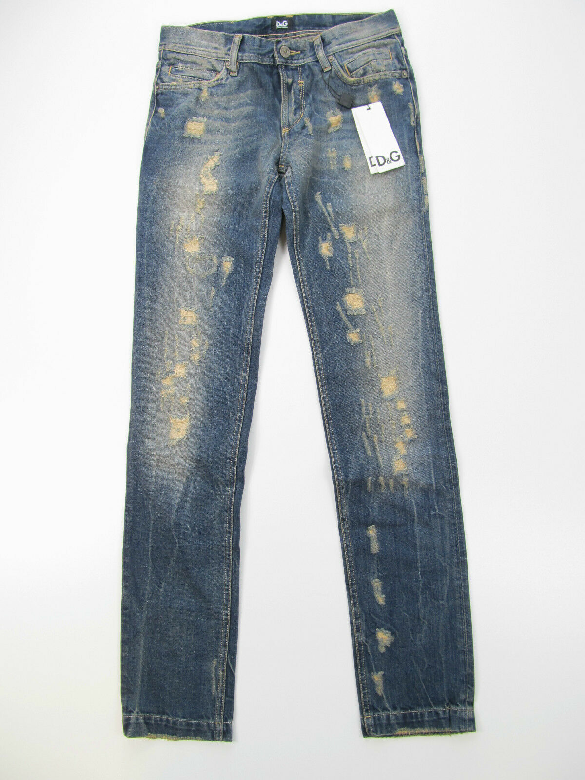 D&G Dolce&Gabbana Jeans Hose Broek R50712 Neu Blau Destroyed