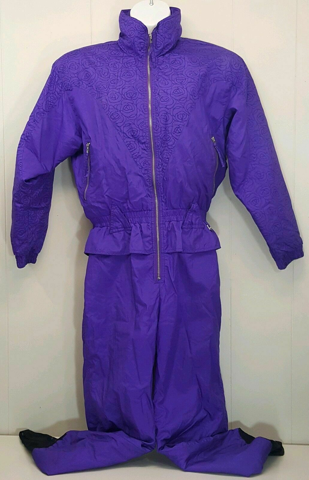 Edelweiss 12 Ski Snow Suit Purple Floral pinks Vintage 80s 90s Zip Up