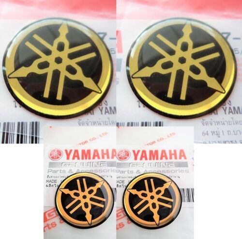 GENUINE YAMAHA BIKE Round Domed Stickers Decal GOLD & BLACK Forks Tank