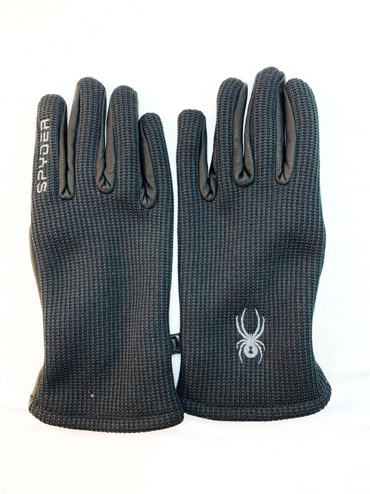 NWT Spyder Leather Palm Gloves, Black Size: L, Large