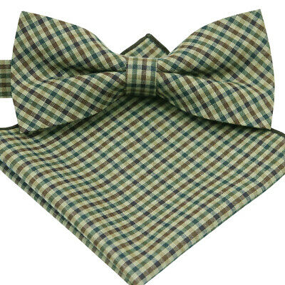 *BRAND NEW* MULTI-COLOR CHECKED TUXEDO MENS BOW TIE AND POCKET SQUARE SET B1099