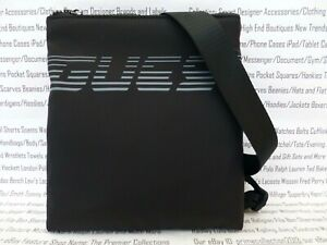Details about GUESS Flat Racing Crossbody Bag 6616 Small Black Canvas Shoulder City Bags BNWT