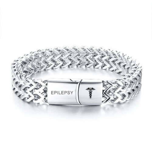 Fashion Medical Alert ID Double Layers Men Bracelet Chain Personalized Engraved