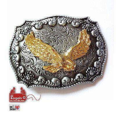 3D Golden Eagle America Western  Belt Buckle