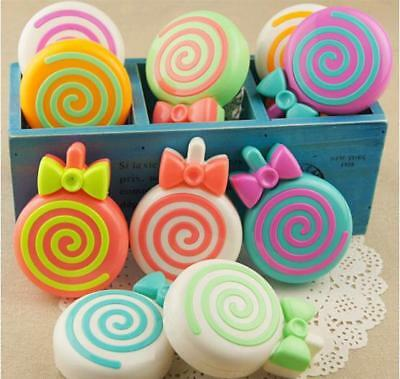 Cute Lollipop Travel Contact Lens Case Soak Storage Box Holder Mirror Tweezer