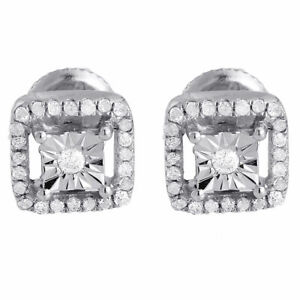 Sterling Silver CZ Micropave Screw-Back Square Stud Earrings 8.5mm Big
