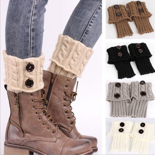 Women/'s Leg Warmer Knit Boot Socks Dotted Line Button Topper Boot Cuffs Socks~GQ