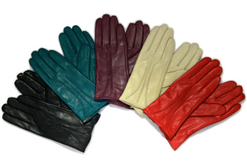 Ladies Soft Real Genuine Leather Fur Lined Wrist Gloves  stitch lines design