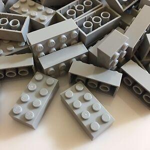 100 NEW LEGO 2x4 Medium Stone Grey Bricks (ID 3001) BULK Blocks gray