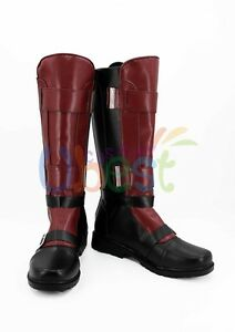 Image is loading X-men-Deadpool-Wade-Wilson-Cosplay-Shoes-Boots- b5eefeb71fe32