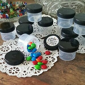 24-One-Ounce-Jars-plastic-Containers-black-screw-caps-4304-DecoJars-USA