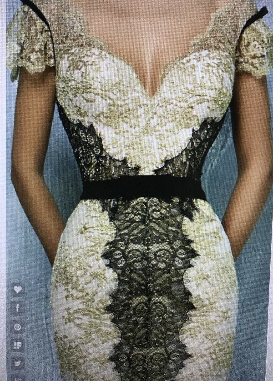 Lace Slit Gown By Gemy
