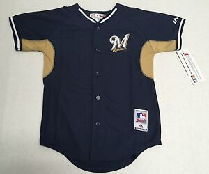 Milwaukee-Brewers-Authentic-MLB-Majestic-Youth-Kids-Stitched-Cool-Base-Jersey