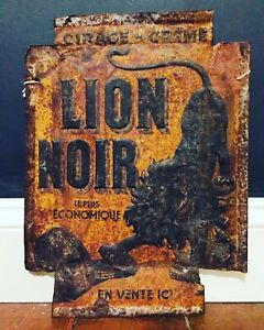 Antique French Lion Noir Trade Sign Metal Sign Black Lion
