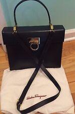Authentic SALVATORE FERRAGAMO Leather Gancini 2 Way BLACK Handbag Dustbag