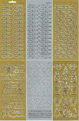 CHRISTMAS METALLIC GOLD SILVER PEEL OFFS TEXT & GRAPHIC STICKERS CARDMAKING
