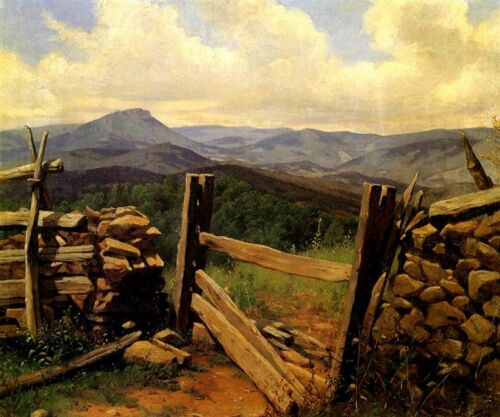 AMERICAN LANDSCAPE MOUNTAINS SPLIT RAIL FENCE PAINTING BY HENRY MOSLER REPRO