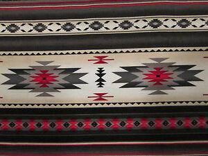 Navajo-Native-American-Gray-Cream-Red-Border-Print-Cotton-Fabric-BTHY