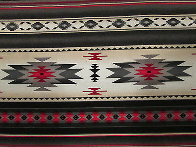 Navajo Indian Gray Cream Red Border Print Cotton Flannel Fabric BTHY