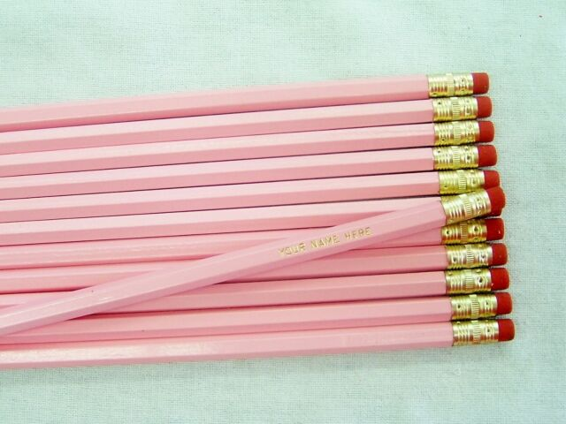 "12 Hexagon ""Pastel Pink"" Personalized Pencils"