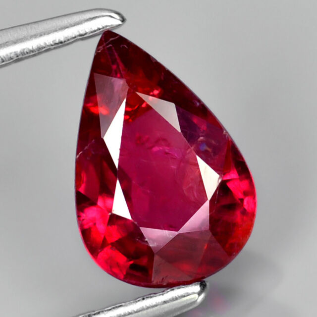 CERTIFIED 0.81ct 7.5x5mm Pear Natural UNHEATED Rich Red RUBY, MOZAMBIQUE #313610