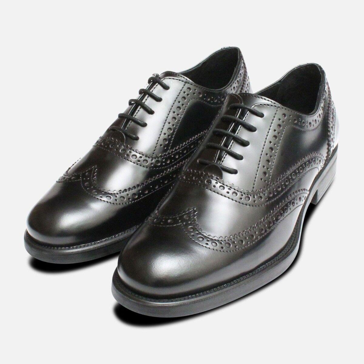 Oxford Noir Semelle en Caoutchouc Chaussures Richelieu Fait en Italie