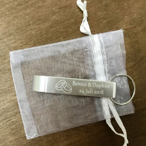 50pcs  Personalized Engraved Bottle Opener Key Chain Wedding favor organza bags