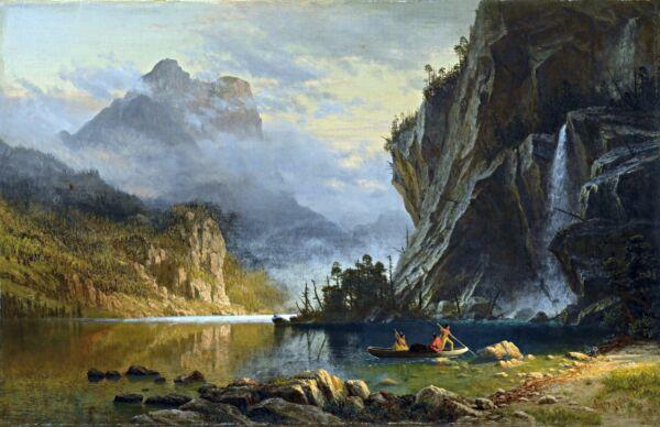 """ Indiens Spear Fishing "" Par Albert Bierstadt. Fine Toile Art. 13x19 Imprimé"