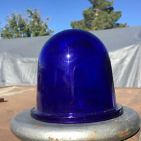 Cobalt Blue Glass Cage Industrial Light Lens Dome Globe 4 Runway Light