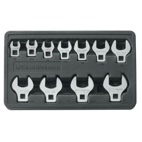 GearWrench 11-Piece Drive SAE Crowfoot Wrench Set Wratchet Drive Tools 3//8 in