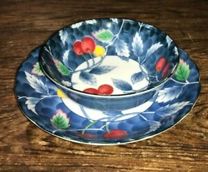 ARITA-JUZAN-GAMA-JAPAN-SMALL-BOWL-amp-PLATE-SHALLOW-BOWL-CHERRIES-BLUE-WHITE-EUC