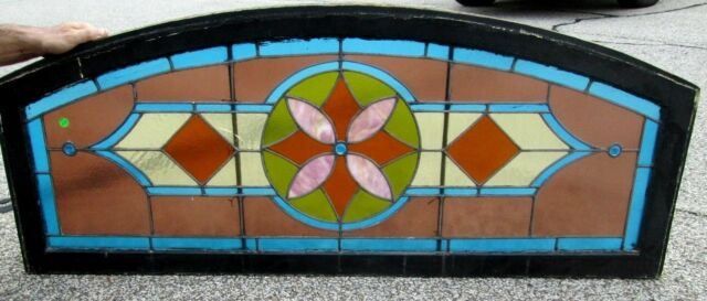 LARGE & GORGEOUS ARCHED TRANSOM STAINED GLASS WINDOW W/ 3 BIG BULLS EYE #44