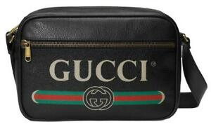 8d31b9a06fce Image is loading NEW-GUCCI-BLACK-LEATHER-VINTAGE-LOGO-LARGE-MESSENGER-