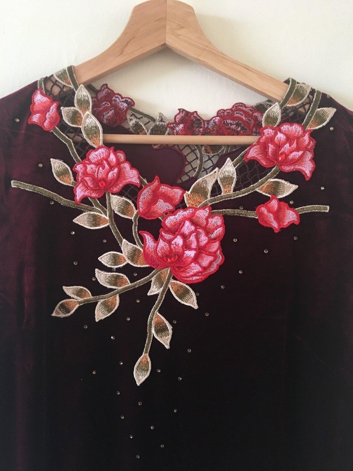 Women's Embroidered Long Sleeve V- Neck  Burgundy Red Velvet Long Beaded Dress