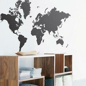 DIY-Large-Map-Of-The-World-Vinyl-Wall-Sticker-Decal-Quotes-Black-UK-Stock
