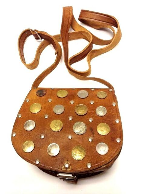 Moroccan Hand sewn Tan Leather Small Purse Cross-body Bag Vintage Coins & Metal