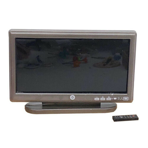 KM/_ AB/_ Doll House Miniature Living Room Furniture Flat LCD TV /& Remote Contro