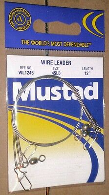 "Mustad WL1245 wire leaders 12/"" 45 lb test fishing qty 3"