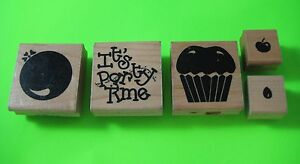PARTY-TIME-5-Piece-Set-Full-Image-Rubber-Stamps-JRL-Design-Balloon-Cupcake