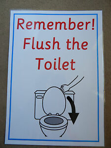 Remember Flush The Toilet Poster A4 Size Eyfs Nursery